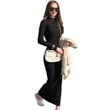 Spring Long Dress Women Sexy Knitted Dress Autumn Winter Long-sleeve Pullover Sweater Dresses Clothes Bodycon Maxi Dress NS736