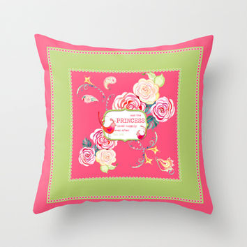Princess Happily Ever After Modern Birds Floral  Throw Pillow by Audrey Jeannes