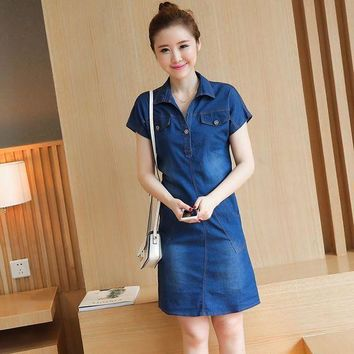 ICIKIHN S-4XL Summer Women classic A line Denim Plus Size Dress V neck Short Sleeve Loose Casual Jeans Natural vestidos maxi above knee