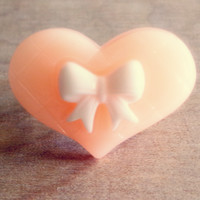 Peach Bow Heart Ring - Country Mermaids