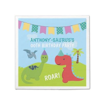 Cute Personalised Dinosaur themed Party Paper Napkin