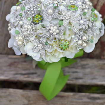 Deposit on apple green and pearl heirloom brooch jewelry bouquet - made to order wedding bouquet