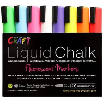 CraftyCroc CC1-100 Chalk Markers With Unique Reversible Tip, Pack of 10, Assorted color