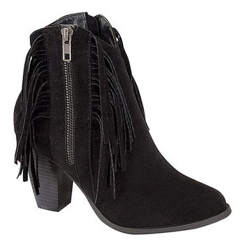 Step Up Shoes Black Camila Fringe Zip-Up Boot | zulily