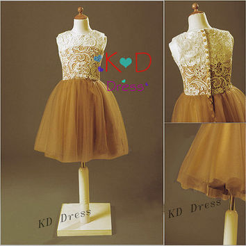 On Special Vintage Ivory Lace Gold Tulle Cute Flower Girl Dress Junior Bridesmaid Dress Children Birthday Party Dress Kids Dress