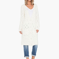 White Deep V-Neck Long Sleeve Knitted Long Cardigan