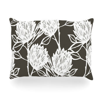 "Gill Eggleston ""Protea Graphite White"" Brown Flowers Oblong Pillow"