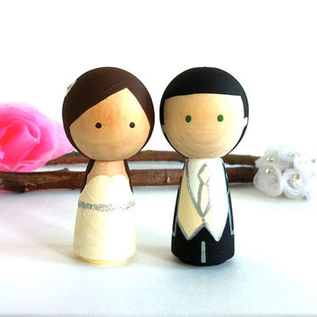 WEDDING CAKE TOPPER Cute Custom Kokeshi Doll Wedding Cake Topper Kokeshi Cake Topper Peg Doll Wedding Decor