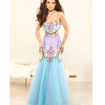 Aqua & Multicolor Strapless Sweetheart Prom Dress