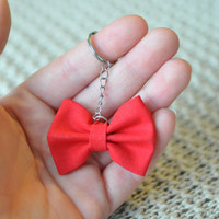 Cute Fabric Hair Bow Keychain