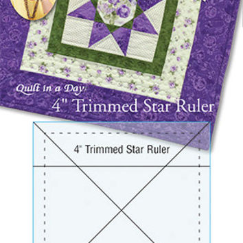 Quilting Ruler, 4 Inch Trimmed Star Ruler, Quilt in a Day