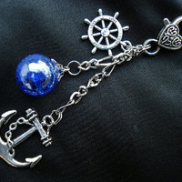 Nautical Anchor Fried Marble Rudder Dark Blue Love Keychain