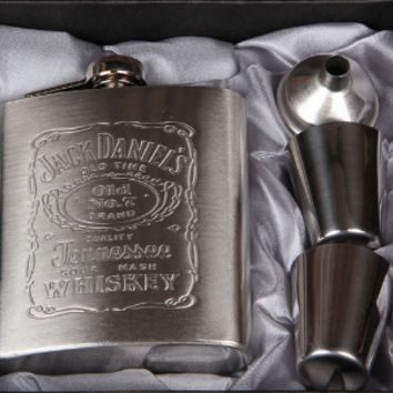 Travel Whiskey Flask Set with Funnel & Cups