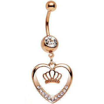Clear Gem Rose Gold Anodized Claddagh Heart Crown Dangle Belly Ring