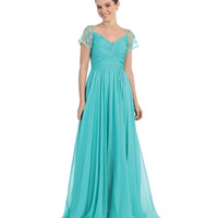 Teal Gathered Knot Chiffon Gown 2015 Prom Dresses