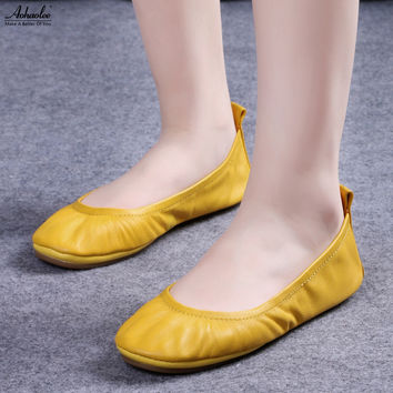 Aohaolee Fashion Women Shoes Flats Comfortable Genuine Leather Bridal Shoes Ballerina Ballet Flats Foldable Flats Pregnant Shoes
