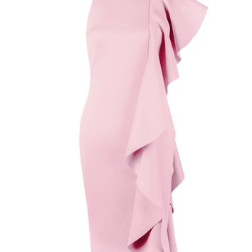 Honey Couture CASIDY Pink Sleeveless Frill Detail Midi Dress