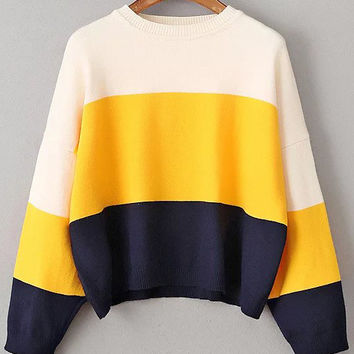 Multicolor Block Drop Shoulder Sweater