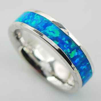 Blue Fire Opal Women 925 Sterling Silver Ring A25 Size 6 7 8 9 10