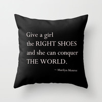 Velveteen Black and Light Pink Pillow - Give a Girl the Right Shoes - Quotes - Marilyn Monroe - Housewares - Home Decor - Typography