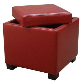 Venzia Bonded Leather Square Ottoman, Red
