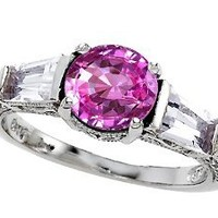 Star K Round 7mm Created Pink Sapphire Ring