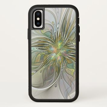 Floral Fantasy Modern Fractal Art Flower With Gold iPhone X Case