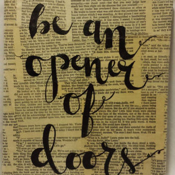 Hand Lettered Quote Art Book Page Collage Ralph Waldo Emerson - Be an Opener of Doors - Canvas Quotes Wall Hanging 8x10 Home Decor Wall Art