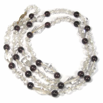 Vintage 14K Garnet Crystal Necklace 33 Inches