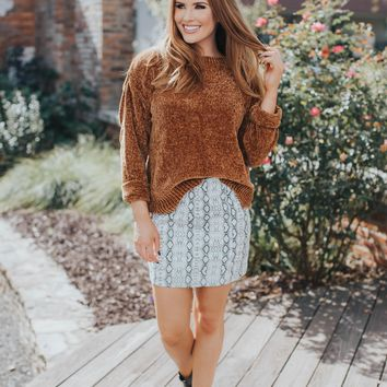 Heidi Scalloped Hem Sweater, Cinnamon