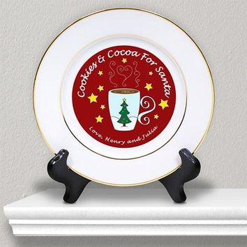 Cookies & Milk or Cocoa for Santa Ceramic Plate with Custom Message