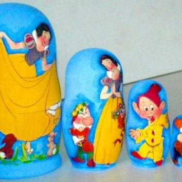 Snow White traditional russian nesting doll toy made curved painted hand collectible souvenir wood linden holiday birthday gift decorat