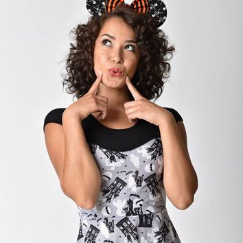 House Of Mouse Black & White Skeletons & Bow Mouse Ears Headband