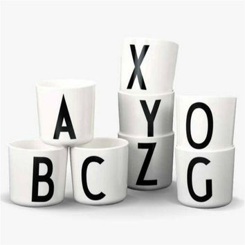 Design letters tasse Cup Mamadeira Toddler Cups Copo Baby Safety Melamine Cups Caneca Kids Water Drink Cup Children Bottle Tazas