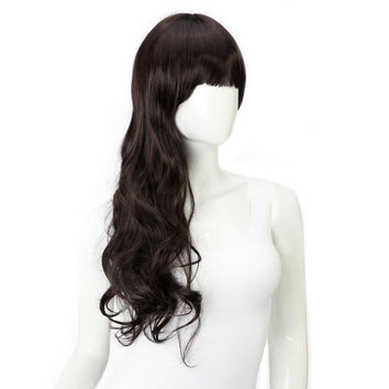 Women Long Wavy Neat Bang Hair Wigs 4 Colors