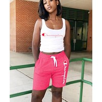 Champion Summer New Fashion Letter Print Sports Leisure Vest Top And Shorts Two Piece Suit Pink
