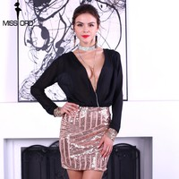 Sexy v neck long sleeve sequins dress