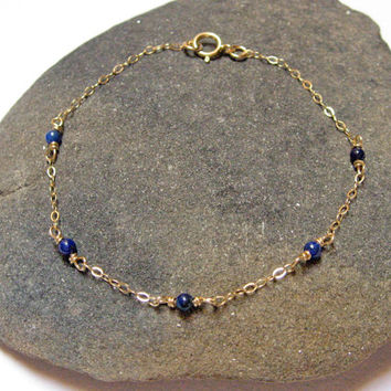 Lapis Lazuli Bracelet, 14k Gold Filled or 925 Sterling Silver, Stone Bracelet, Delicate Bracelet, Dainty Thin Chain, Bridesmaid Jewelry