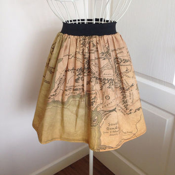 Middle Earth map inspired full skirt
