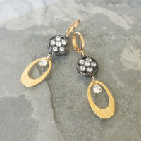 Crystal Earrings, Gold Crystal Earrings, Gold and Black Crystal Earrings, Gold and Black Earrings, Black Earrings, Gold Earrings