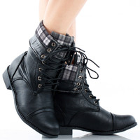 Lagos Fold Over Cuffed Ankle Combat Boots