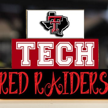 Texas Tech University Red Raiders - Trio Wood Blocks Stack - Home Decor/Gift - Lubbock Texas Wooden Blocks