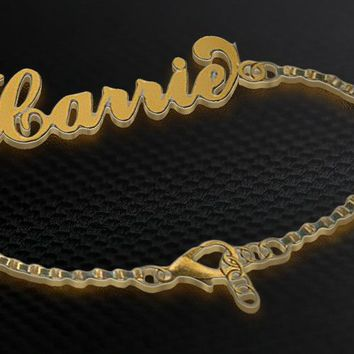 English One Name Gold Plated Bracelet