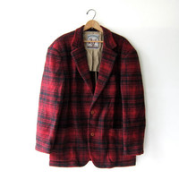 Vintage red & black wool flannel jacket. Men's wool plaid blazer coat. winter barn coat.