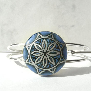 Cobalt Blue Cuff Bracelet, Hand Painted Bracelet, Bezel Paint Bracelet Adjustable Blue Bracelet, Geometric Flower, Wearable Art from Germany