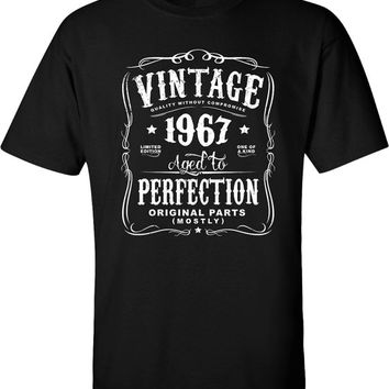50th in 2017 Birthday Gift For Men and Women - Vintage 1967 Aged To Perfection Mostly Original Parts T-shirt Gift idea.  N-1967
