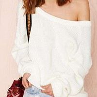 White Long Sleeve Boat Neck Off The Shoulder Pullover Sweater