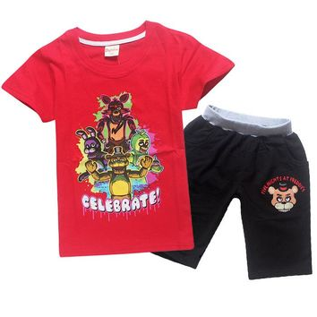 New Summer cotton suit set five nights Freddy T-shirt tops + shorts children's game clothing teen sportswear midnight bear