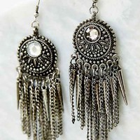 Spike + Chain Drop Earring- Silver One