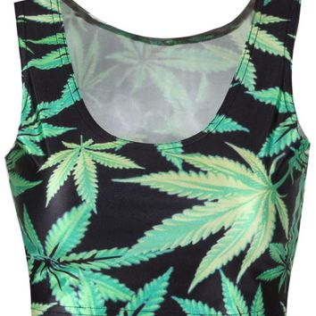 Tropical Leaf Printed Round Neck Sleeveless T-Shirt